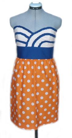 Orange and Blue Game Day Dress Ruffles by withlovev on Etsy, $90.00