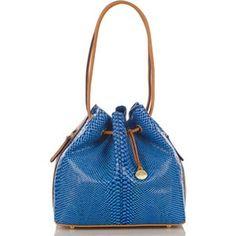 2091970fa828 Brahmin trina blue odyssey drawstring tote snake python embossed leather  handbag