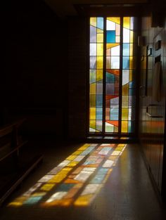 "ikimono-clips: "" Projected Light, Stivichall by Aidan McRae Thomson "" Stained Glass Designs, Stained Glass Art, Stained Glass Windows, Facade Design, House Design, Thomas Merton, Through The Looking Glass, Sacred Art, Bathroom Interior Design"
