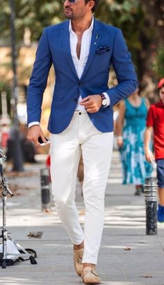 Fredy p summer wedding menswear, summer wedding suits, summer suits, blue blazer outfit Summer Wedding Suits, Casual Wedding Attire, Men's Summer Suits, Blue Summer Suit, Beach Wedding Men Outfit, Summer Wedding Menswear, Men Summer, Party Wedding, Wedding Shoes