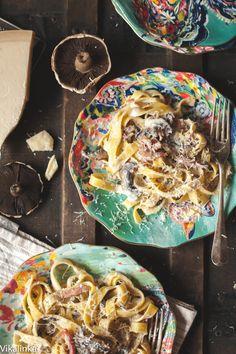 Creamy Tagliatelle with Bacon, Portobello Mushrooms and Truffle Oil that is ready in 20 minutes!
