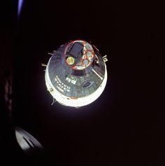 Space History Photo: Gemini 6 view of Gemini 7 during rendezvous maneuvers on Dec. 15, 1965.
