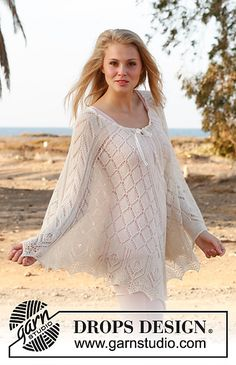 Ravelry: 146-4 Honeymoon - Poncho with lace pattern in BabyAlpaca Silk or Lace pattern by DROPS design