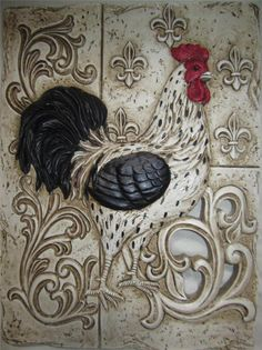 FRENCH COUNTRY ROOSTER TUSCAN FLEUR DE LIS WALL PLAQUE PLATE ART in Home & Garden, Home Décor, Plaques & Signs | eBay