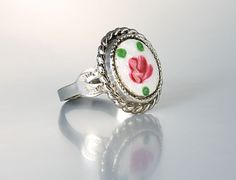 vintage Guilloche enamel and Sterling silver Ring size 6