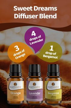 Sweet Dreams Essential Oil Diffuser Blend. 3 drops of Sweet Orange essential oil. 4 drops of Lavender essential oil. 1 drop of Bergamot essential oil. Add to your diffuser 1-2 hours before bed for a great night sleep.