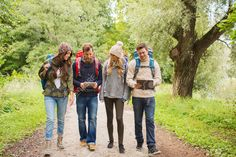 Adventure, Travel, Tourism, Hike And People Concept - Group Of.. Stock Photo…