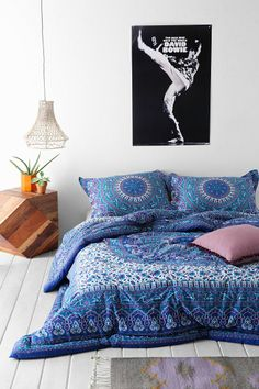 Magical Thinking Ophelia Medallion Comforter- LOVE this one- goes with the blue raja one but introduces the purple and one big medallion instead of a bunch of little ones