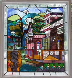 """Pink House,"" stained glass, by Ed Cowley,"