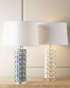 Basketweave Capiz Shell Lamp from Horchow