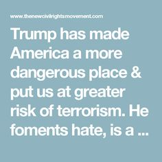 Trump has made America a more dangerous place & put us at greater risk of terrorism. He foments hate,is a serial liar, supporter of white nationalism & anti-Semitism, fascist bully, authoritarian thug, sexual assault & adultery braggart, hypocrite, defrauder, & danger to civil rights, freedom of the press, & world peace.