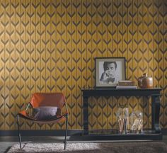 Acanthe Casamance Wallpaper (source Casamance) Fabric Wallpaper Australia / The Ivory Tower Home Wallpaper, Interior Design, Home, Interior, Pattern Wallpaper, Geometric Wallpaper, Yellow Wallpaper, Home Decor, Wall Coverings