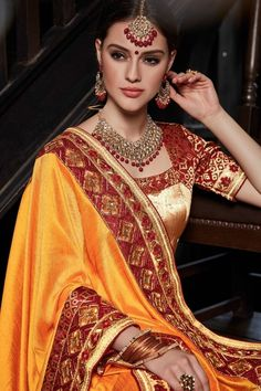 Indian Sarees, Silk Sarees, Small Necklace, Indian Fashion, Womens Fashion, Pinterest Girls, Bridal Sets, Traditional Dresses, Silk Satin
