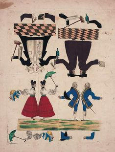 Paper Dolls, 1790-1940 - The Collection of Shirley Fischer: 3 Circa 1815,Uncut Sheet of French Paper Dolls