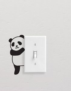 Add style to simple switch plates with our Panda Wall Decal Set! This set includes five different pandas, but all are equally adorable. [ Size ] Set Size (approx): x [ Whats Included ] 5 Pandas All artwork is original. Simple Wall Paintings, Creative Wall Painting, Wall Painting Decor, Simple Wall Art, Diy Wall Decor, Room Decor, Bedroom Wall Designs, Wall Art Designs, Paint Designs