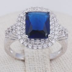 Sterling Silver* Sapphire & Crystal Ring Sterling Silver* Blue Sapphire & CZ Crystal Ring size 7 Jewelry Rings