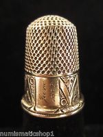 Antique Inscripted 14k Gold Thimble