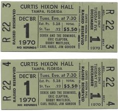 Derek & The Dominos Concert Ticket Second Live, Thomas Rhett, Piece Of Music, Concert Tickets, Eric Clapton, The Fool, Army Green, Amp, The Originals