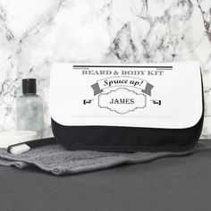 """Our Spruce Up Wash Bag is a wonderfully unique gift for him on any occasion.  Personalise with a name up to 12 characters including spaces and punctuation.   Personalisation will appear in UPPERCASE.   The text """"Beard"""