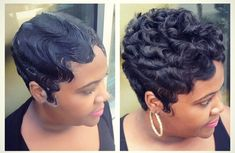Looks like she molded the hair into a finger wave let it dry under the dryer combed and curled the hair. Short hair / hairstyles / hair do's