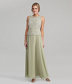 Jkara Beaded Sleeveless Chiffon Gown, Dazzle in chiffon and beads when you wear this women's Jkara gown with a hand-beaded floral design. The scalloped bodice defines your waist and flatters your curves. Sequin Bridesmaid Dresses, Prom Dresses, Formal Dresses, Wedding Dresses, Bride Dresses, Tea Length Dresses, Plus Size Dresses, Short Dresses, Mother Of The Groom Gowns