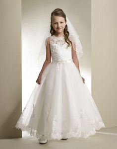 The latest girls dresses which match the flowers-princess a-line beading sash 2016 girls ivory first lace holy communion dresses for girls vestidos de comunion vestido de festa is offered in alberta_dress and on DHgate.com lavender flower girl dress along with little flower girl dresses are on sale, too.