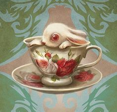 surreal trippy bunny in a teacup...i thought for film clip if you wanted to express something surreal - you could have it illustrated and you could be flicking through a book and see it