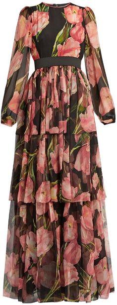 DOLCE & GABBANA Tulip-print ruffle-trimmed silk gown