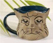 Smiling Cat Face Face Mug, Cat Face, Kitchen Wall Design, Smiling Cat, Clay Cup, Mugs, Tableware, Dinnerware, Tablewares