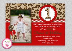 Red Cheetah Birthday Invitation  1st by The Trendy Butterfly #girls1st #leaopar #cheetah #birthdayinvitation