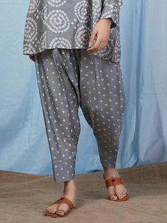 Grey Bandhani Cotton Silk Pants