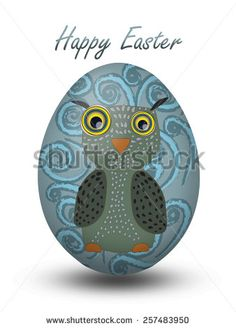 Easter egg with owl - stock photo