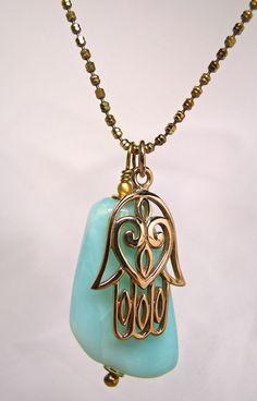 Yoga Jewelry, Hamsa Charm Necklace, Peruvian Opal, Ready to Ship