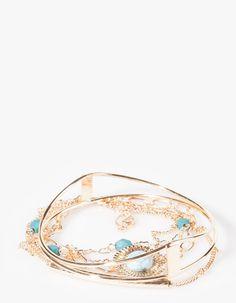 Set of 5 metal and stonework bracelets