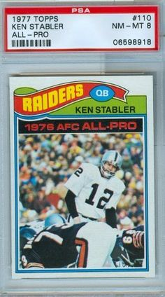 1977 Topps Football Card Ken Stabler OAkland Raiders PSA 8 NM-MT by 1977 Topps. $24.99. 1977 Topps Football Card Ken Stabler OAkland Raiders PSA 8 NM-MT, Professionally Graded Near Mint To Mint