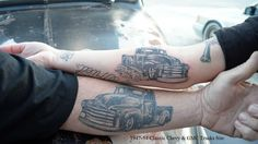 Chevy truck tattoo ideas 17 New ideas Redneck Trucks, Chevy Trucks, Car Tattoos, Body Art Tattoos, Tatoos, Chicano, Truck Paint Jobs, Truck Campers For Sale, Truck Tattoo