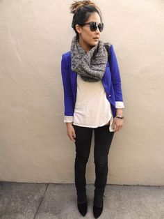 blue blazer / white shirt / black skinnies / scarf