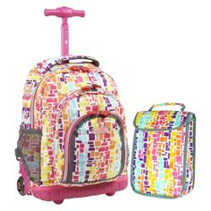 Shop for J World 'Lollipop' Kids Rolling Backpack/Lunch Bag. Get free delivery On EVERYTHING* Overstock - Your Online Kids' Luggage & Bags Outlet Store! Kids Rolling Luggage, Girls Rolling Backpack, Kids Luggage, Carry On Luggage, Luggage Sets, Kids Lunch Bags, Kids Bags, Backpack Store, Backpack For Teens