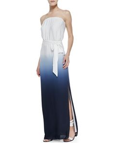 Strapless Ombre V-Back Maxi, Swan/Midnight by Haute Hippie at Neiman Marcus.
