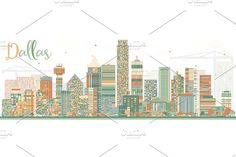 Abstract Dallas Skyline Graphics Abstract Dallas Skyline with Color Buildings. Vector Illustration. Business Travel and Tourism Conce by Igor Sorokin