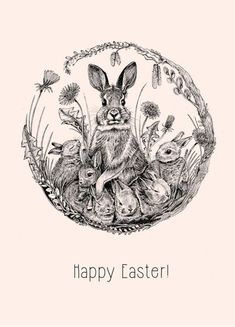 Articles similar to Happy Easter – folding card, Easter bunny, rabbit, spring, fineliner drawing … - Frohe Ostern Happy Easter, Easter Bunny, Transférer Des Photos, Lapin Art, Bunny Art, Graphics Fairy, Easter Printables, Vintage Easter, Easter Crafts