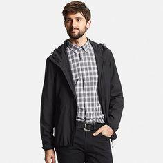 Men Lightweight Packable Hooded Jacket, BLACK, large