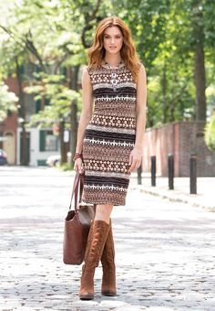Indian Summer - Transition effortlessly through the the seasons in our tribal print midi dress and faux suede boots. Grab our tasseled tote and a statement necklace for a style that will take you places.