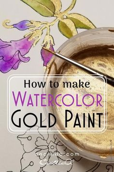 Watercolor Art Lessons, Watercolor Tips, Watercolor Painting Techniques, Watercolor Projects, Gold Watercolor, Watercolour Tutorials, Watercolor Artwork, Painting & Drawing, Watercolour Illustration