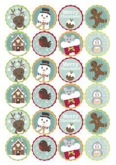 handmade gifts and personalised accessories directly from UK makers and designers Digital, Printable Christmas Cupcake Toppers Christmas Cupcake Toppers, Christmas Topper, Christmas Cupcakes, Noel Christmas, Christmas Crafts, Christmas Ornaments, Printable Stickers, Cute Stickers, Christmas Stickers Printable
