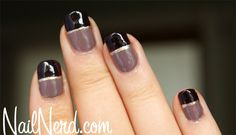 For a posh look, try this nail polish design with three colors.