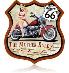 Retro Pin-Up Girl Tin Sign - Route 66 Pinup Bike Shield Tin Sign. Nostalgic wall decor reproduction. Great gift idea. Made in USA! - Your Retro Store Since 2002 - Jackandfriends.com