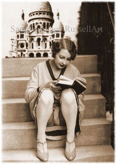 Risqué Reader, French postcard, I see London, I see France, I see that lady's underpants! People Reading, Woman Reading, Ziegfeld Girls, Annie Leibovitz, Roaring Twenties, Vintage Pictures, Vintage Photographs, Vintage Beauty, Vintage Ladies