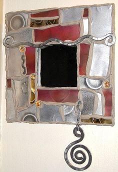 modern funky metal and mosaic art mirror