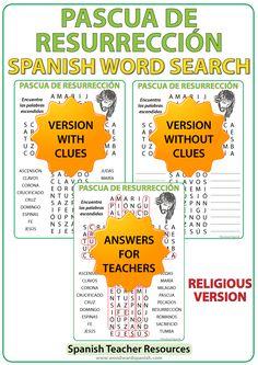 Word Search with Religious Vocabulary about Easter in Spanish. Sopa de Letras con vocabulario religioso de la Pascua de Resurrección.